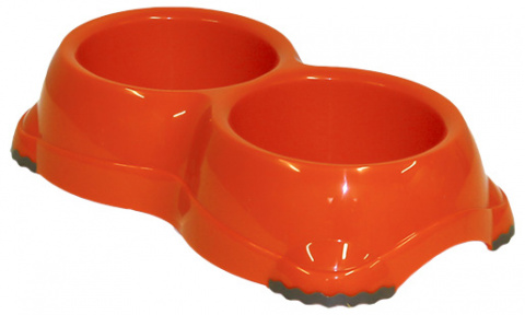 Bļoda suņiem - DogFantasy, neslīdoša,double, plastmasa, oranža, 2*645 ml title=