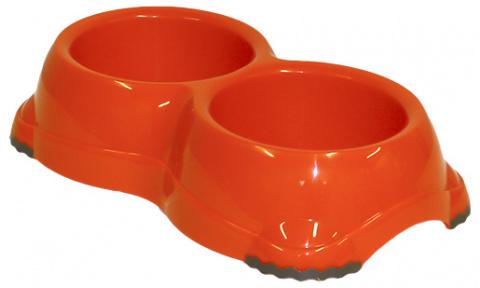 Миска для собак - DogFantasy, нескользящий, двойной, пластик, оранжевый, 2*645 ml