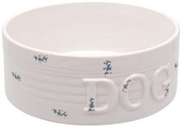 Bļoda suņiem keramikas - DF Eat on Feet Keramiska bļoda balta zila dots 20.5*7.5cm, 1.6l
