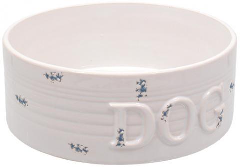 Керамическая Миска для собак - DF Eat on Feet Керамическая миска, белый/синий точки 20.5*7.5cm, 1.6l title=