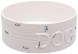 Керамическая Миска для собак - DF Eat on Feet Керамическая миска, белый/синий точки 20.5*7.5cm, 1.6l