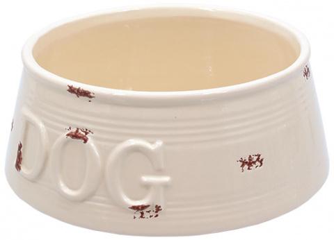 Bļoda suņiem keramikas - DF Eat on Feet Keramiska bļoda balta violet points 20.5*7.5cm, 1.6l title=