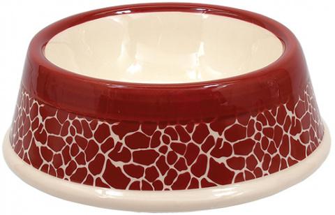 Bļoda suņiem keramikas - DF Eat on Feet Keramiska bļoda sarkana ceramic giraffe 15.5*5cm, 0.7l