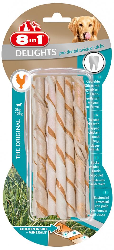 Gardums suņiem - 8in1 Delights Dental Twisted sticks, 55 g title=