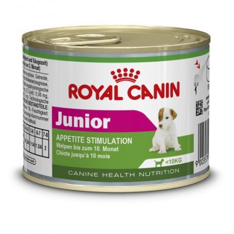 Konservi kucēniem - Royal Canin Mini Junior, 195 g title=