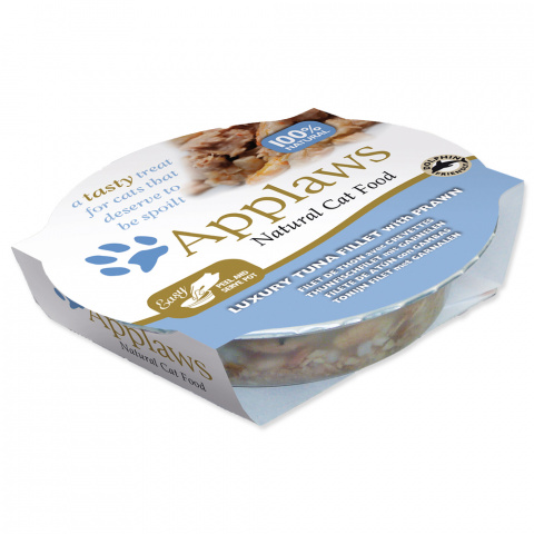 Konservi kaķiem - APPLAWS Cat, tuncis un garneles buljonā, 60 g title=