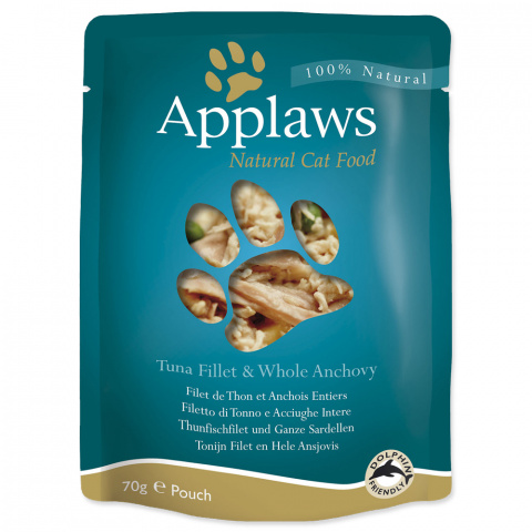 Konservi kaķiem - APPLAWS Cat Pouch, tuncis ar anšoviem buljonā, 70 g title=