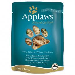 Консервы для кошек - APPLAWS Cat Pouch, тунец с анчоусами в бульоне, 70 г