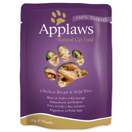 Konservi kaķiem - APPLAWS Cat Pouch,  ar vistas krūtiņu un savvaļas rīsiem, 70 g