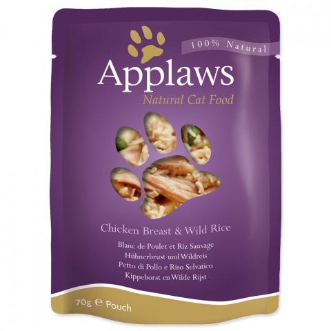 Konservi kaķiem - APPLAWS Cat Pouch, vista ar savvaļas rīsiem, 70 g title=