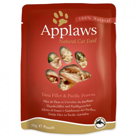 Konservi kaķiem - APPLAWS Cat Pouch, tuncis un garneles buljonā, 70 g title=