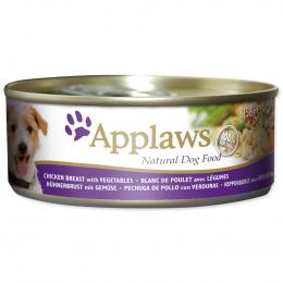 Konservi suņiem -  APPLAWS Dog Chicken, ar vistas krūtiņu un dārzeņiem, 156g