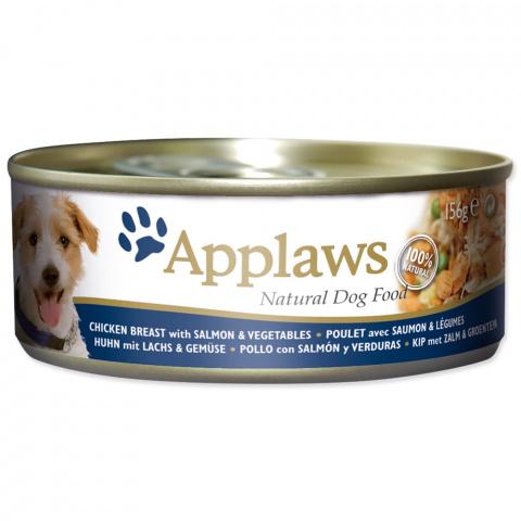 Konservi suņiem - APPLAWS Dog,  ar vistas krūtiņu, lasi un dārzeņiem, 156g title=
