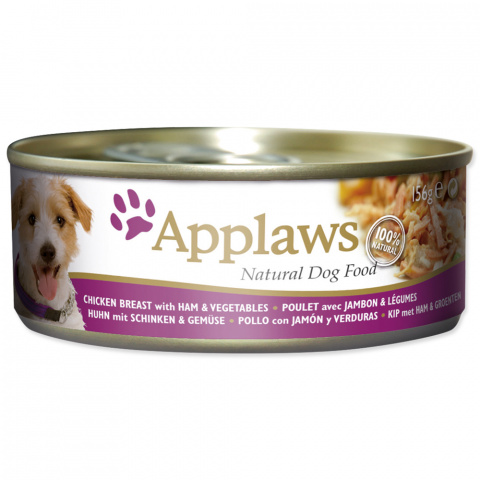 Консервы для собак - APPLAWS Dog, куриная грудка, ветчина и овощи, 156 г title=