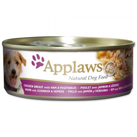 Консервы для собак -  APPLAWS Dog, с куриной грудкой, ветчиной и овощами, 156г
