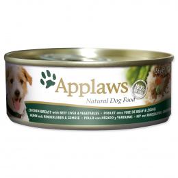 Konservi suņiem - APPLAWS Dog Chicken, ar vistas krūtiņu, liellopu aknām un dārzeņiem, 156 g