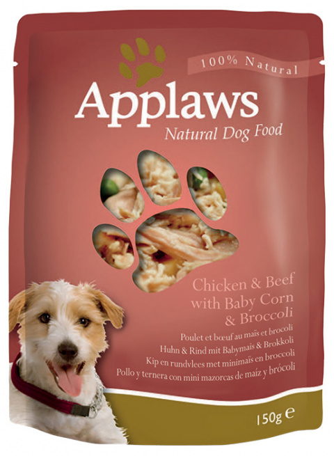 Konservi suņiem -  APPLAWS Dog Chicken & Beef & Vegetables, 150g title=