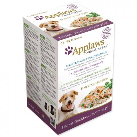 Konservi suņiem - APPLAWS Dog Jelly Finest Selection multipack, vistas krūtiņa želejā, 5*100 g title=