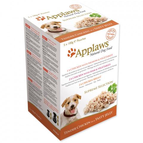 Konservi suņiem -  APPLAWS Dog Jelly Supreme Selection multipack, ar vistas krūtiņu, 5*100g title=