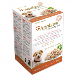 Konservi suņiem -  APPLAWS Dog Jelly Supreme Selection multipack, ar vistas krūtiņu un pīli želejā, 5*100g