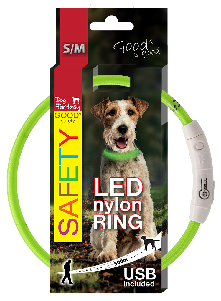 Atstarojošā kakla siksna – Dog Fantasy LED Collar Nylon, Green, 45 cm