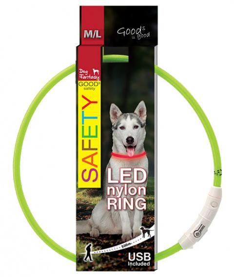 Atstarojošā kakla siksna - DogFantasy LED collar nylon, 65cm, zaļa title=