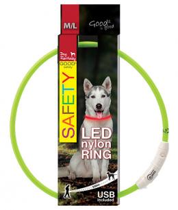 Atstarojošā kakla siksna - DogFantasy LED collar nylon, 65cm, zaļa