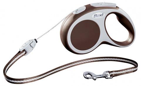 Поводок-рулетка для собак - FLEXI Vario Cord S 5м, цвет - коричневый title=