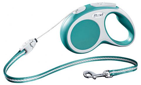 Поводок-рулетка для собак - FLEXI Vario Cord S 5м, цвет - бирюзовый