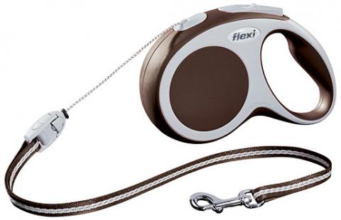 Поводок-рулетка для собак - FLEXI Vario Cord S 8м, цвет - коричневый