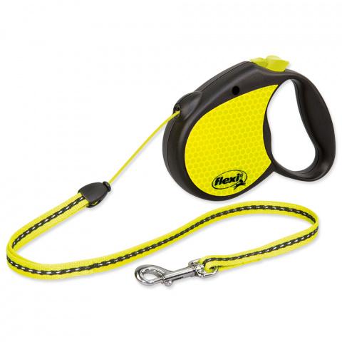 Поводок-рулетка для собак - FLEXI neon Cord S 5м, reflekt, цвет - черный / неоновый желтый title=