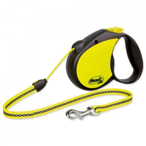 Поводок-рулетка для собак - Flexi neon Cord M 5m, reflekt