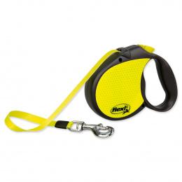 Поводок-рулетка для собак - FLEXI neon Tape L 5m, reflekt, цвет - черный / неоновый желтый