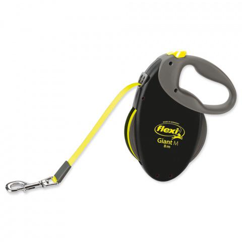 Поводок-рулетка для собак – FLEXI Giant Tape M 8 м, Neon title=