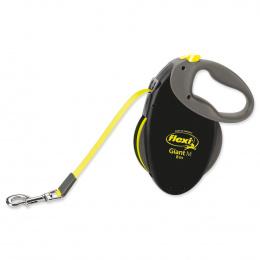 Поводок-рулетка для собак - FLEXI Giant Tape M 8м, цвет - черный / неоновый желтый