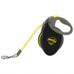 Inerces pavada suņiem - FLEXI Giant Tape L 8m, melna/neona dzeltena