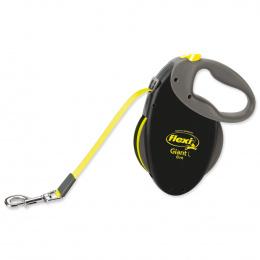 Поводок-рулетка для собак - FLEXI Giant Tape L 8m, цвет - черный / неоновый желтый