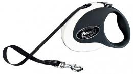 Поводок-рулетка для собак - FLEXI Collection Tape Leashes M 5м, цвет - белый