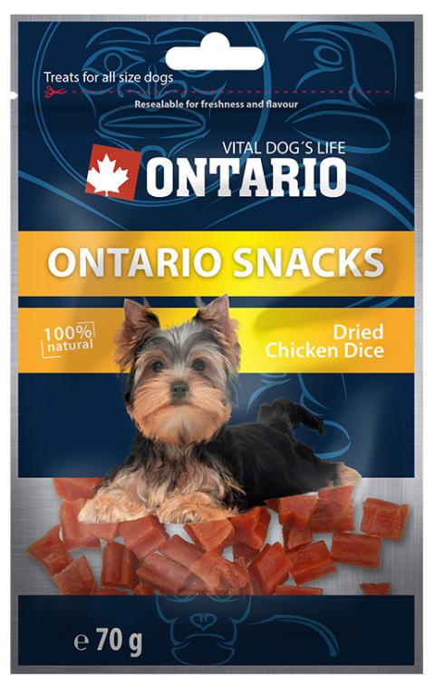 Gardums suņiem - Ontario Chicken Dice Small Dog 70g title=