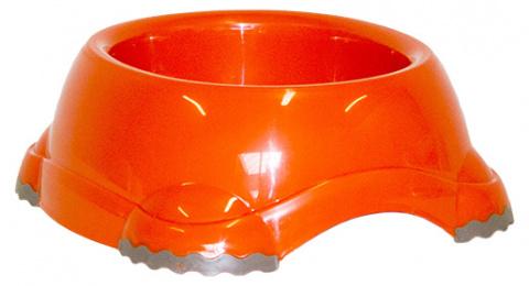 Миска для собак - DogFantasy, нескользящий, пластик, оранжевый, 735 ml title=