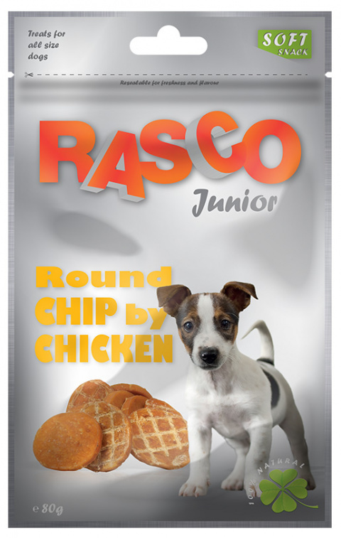 Gardums suņiem - Rasco Junior Round Chip by Chicken, 80g