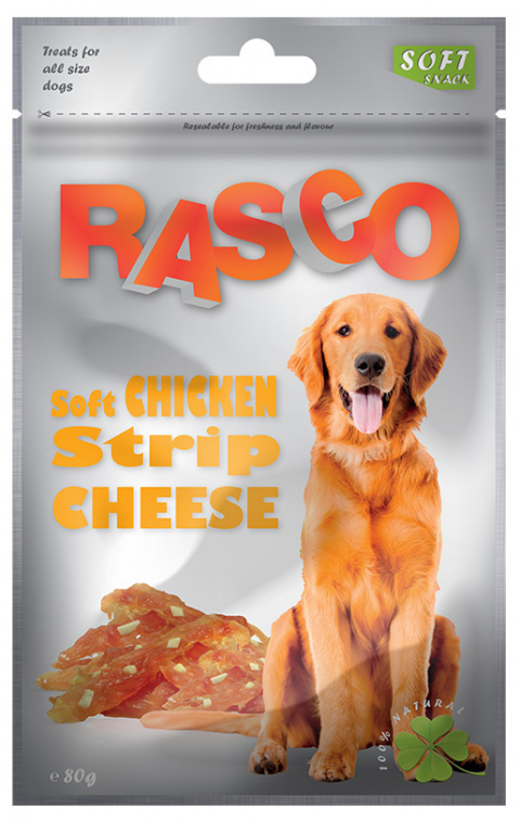 Gardums suņiem - Rasco Soft Chicken Strip Cheese, 80g