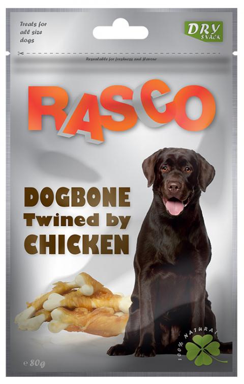 Gardums suņiem - Rasco DogBone Twined by Chicken, 80g