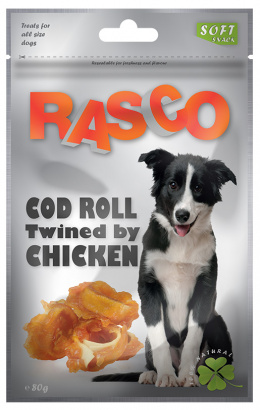 Gardums suņiem - Rasco Cod Roll Twined by Chicken, 80g