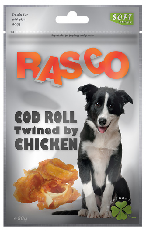 Лакомство для собак - Rasco Cod Roll Twined by Chicken, 80g title=