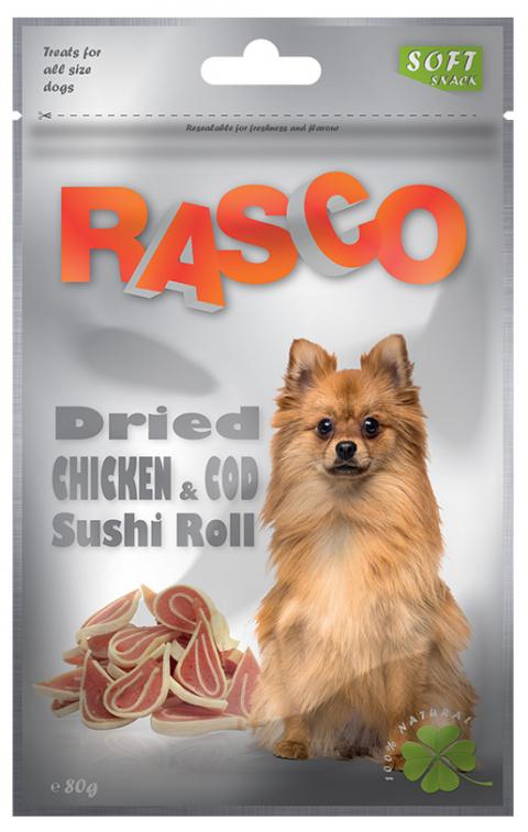 Лакомство для собак - Rasco Dried Chicken & Cod Sushi Roll, 80g