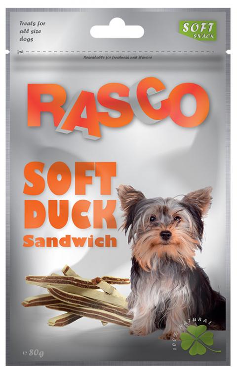 Лакомство для собак - Rasco Soft Duck Sandwich, 80g title=