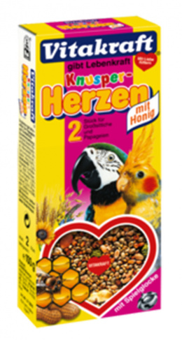 Gardums putniem - Crispy Hearts for Parrots 2 gab (honey)