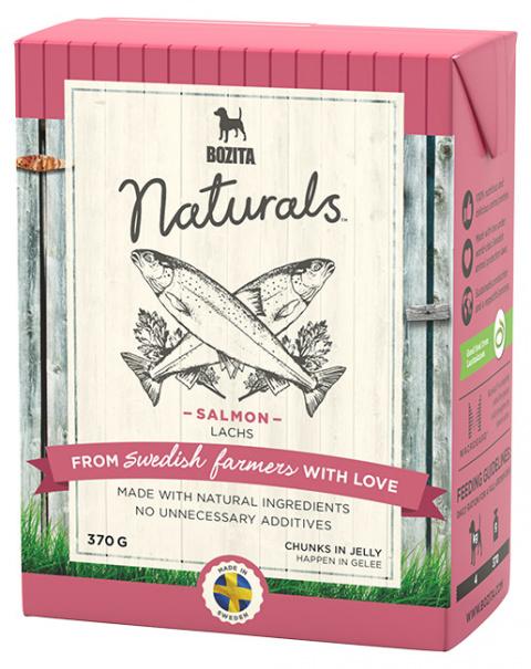 Konservi suņiem - Bozita Chunks in Jelly Dog Naturals Big Salmon, Tetra Pak, 370 g title=