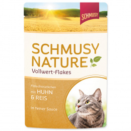 Konservi kaķiem - Schmusy Nature Wollwert-Flakes Chicken and Rice, 100 g